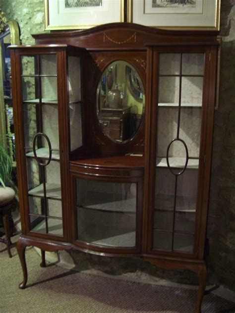 Antique Furniture Display Cabinet Mahogany Inlaid Fathers
