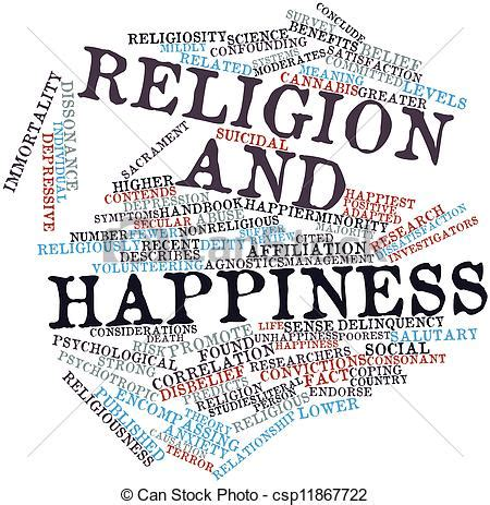 Abstract word cloud for religion and happiness with