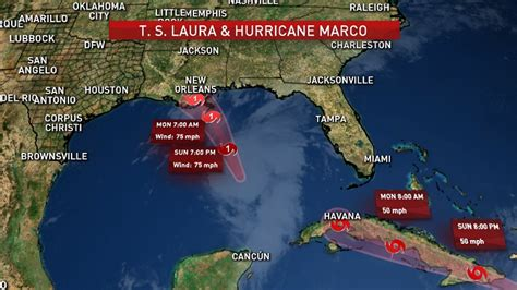 Marco Down to Tropical Storm Near Louisiana, Laura Over