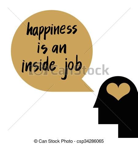 Happiness is an inside job quote illustration for self