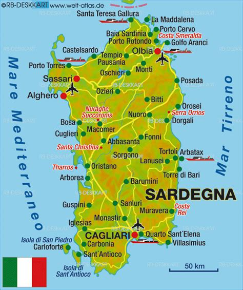 Map of Sardinia, Overview (Island in Italy)   Welt-Atlas